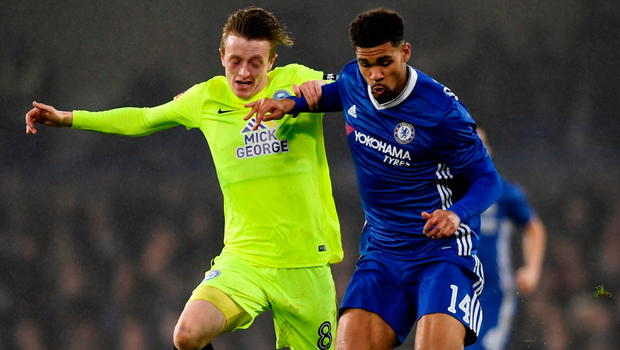 Chelsea's Ruben Loftus-Cheek is tackled by Peterborough's Chris Forrester during their FA Cup 3rd round match last weekend at Stamford Bridge