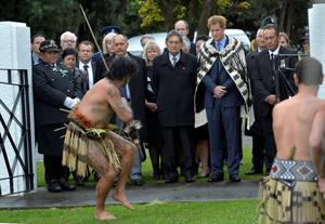 Local Maori people offer a traditional challenge to Prince Harry as he arrives at the Putiki marae, which is central to Maori culture and community activities in Whanganui, on the latest leg of his tour of New Zealand.
