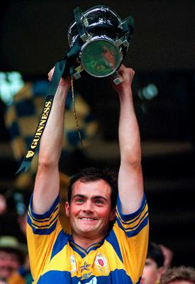 Clare captain Anthony Daly lifts the Liam MacCarthy Cup in 1995. Photo: Sportsfile