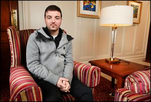 Anthony Nolan from Athy Co Kildare who was involved in a homophobic attack at Newbridge Train Station  and receeived 47 stitches externally with many more internally. Photos by Steve Humphreys 19th February 2020