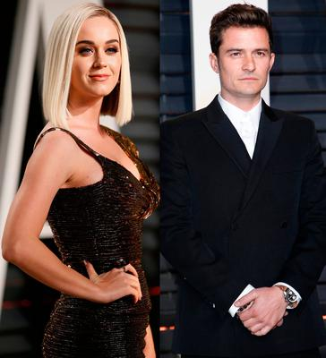Katy Perry, left, and Orlando Bloom, right