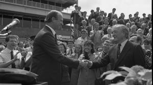 After their great success in Germany in Euro 88, the Irish soccer team had a triumphant homecoming. An Taoiseach, Charles Haughey TD and his government were to the forefront of the welcome at Dublin Airport on June 19, 1988.