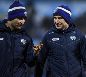 Laois manager Eddie Brennan (r) with selector Niall Corcoran during the Walsh Cup match against Dublin at Parnell Park, Dublin last January. Photo: Matt Browne/Sportsfile