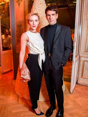 Scarlett Johansson and Romain Dauriac attend the Yummy Pop Grand Opening Party at Theatre du Gymnase on December 16, 2016 in Paris, France.  (Photo by Pascal Le Segretain/Getty Images for Yummy Pop)