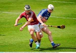 24 May 2015; Gary Greville, Westmeath, in action against Ben Conroy, Laois. Leinster GAA Hurling Senior Championship Qualifier Group, Round 3, Laois v Westmeath. O'Moore Park, Portlaoise, Co. Laois. Picture credit: Brendan Moran / SPORTSFILE