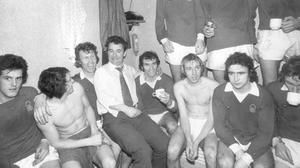 Martin O'Neill in dressing room with Brian Clough