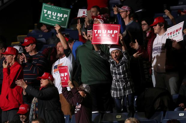 Supporters react at U.S. President Donald Trump's campaign rally in Battle Creek, Michigan, U.S., December 18, 2019. REUTERS/Leah Millis?