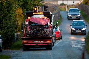 Serious Traffic Collision at Ballagh, Monasterevin, Co. Kildare (on the Portarlington to Monasterevin Road) which occurred at 12 mid day on Sunday 27th September. Photo:Michael Donnelly.