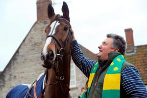 Kauto Star with trainer Paul Nicholls outside the Manor House Inn, Ditcheat