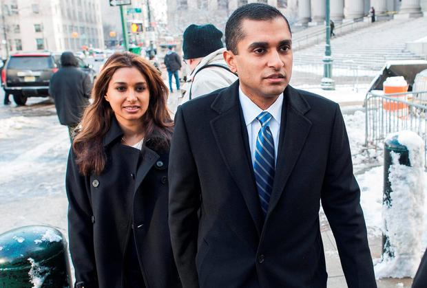 Former SAC Capital Advisors portfolio manager Mathew Martoma arrives with his wife Rosemary at the Manhattan Federal Courthouse earlier this year