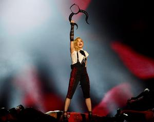 Madonna fell on stage at the Brit Awards last night, but the veteran pop star did manage to finish her performance