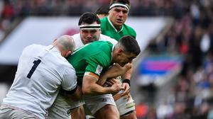 Action from the Six Nations clash between Ireland and England at Twickenham last February. Photo by Brendan Moran/Sportsfile