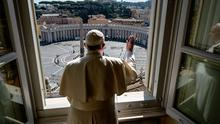 Blessing: Pope Francis looks out over an empty St Peter's Square yesterday. Photo: VATICAN MEDIA/AFP via Getty Images