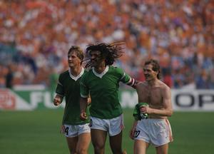 Wim Kieft, Ruud Gullit, Jan Wouters during the UEFA Euro 1988 match between Ireland and Netherlands. Photo by VI Images via Getty Images