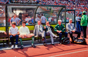 Mick Byrne sits beside Maurice Setters and Jack Charlton prior to Ireland's clash with Netherlands in Gelsenkirchen in 1988. Photo by Ray McManus/Sportsfile