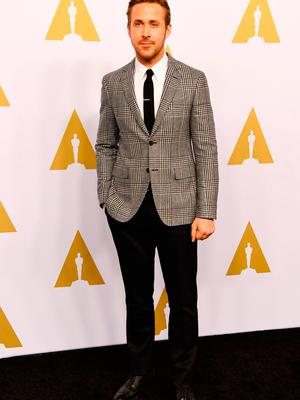 Ryan Gosling arrives for the 89th Annual Academy Awards Nominee Luncheon at the Beverly Hilton Hotel in Beverly Hills, California