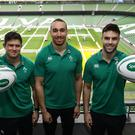Left to right, Ireland players , Dave Heffernan, Ultan DIllane and Conor Murray at the announcement of Specsavers as the official Opticians and Audiologists for the Irish Rugby Football Union, as they head into battle for the Six Nations.
