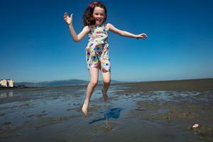 Niamh Toner, age 7, Dromiskin, Co Louth, enjoying the heatwave at Blackrock beach in Co Louth. Picture:Arthur Carron