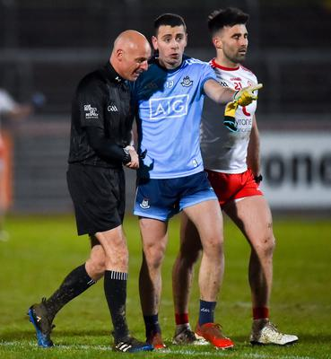 Padraig Hampsey (right) received a black card for Tyrone following a melee against Dublin but no player will receive a ban. Photo by Oliver McVeigh/Sportsfile