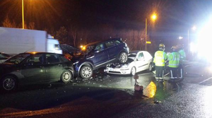 Tonight's collision on the M50. Photo: Dublin Fire Brigade/Twitter