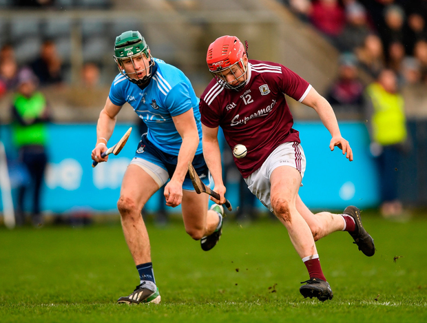 Thomas Monaghan of Galway in action against James Madden of Dublin during the Walsh Cup Semi-Final match between Dublin and Galway at Parnell Park in Dublin. Photo by Harry Murphy/Sportsfile