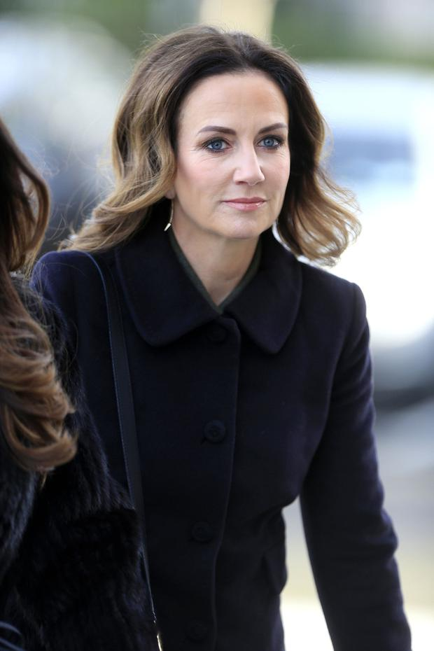 Lorraine Keane arrives for the Larry Gogan funeral mass in Templeogue. Picture; Gerry Mooney