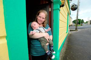 Maura Weir with her son Martin (14 weeks). Photo: Justin Farrelly
