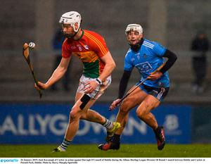 Jack Kavanagh of Carlow in action against Darragh O'Connell of Dublin