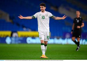 Robbie Brady of Republic of Ireland reacts after a shot on goal