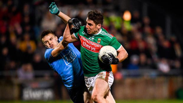 Lee Keegan of Mayo in action against Eoin Murchan of Dublin during the Allianz Football League Division 1 Round 2 match at Elverys MacHale Park in Castlebar, Mayo. Photo: Harry Murphy/Sportsfile