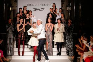 Paul Costelloe on the catwalk after his show at the Palm Court in London's Waldorf Hotel Picture: © Debbie Bragg / Paul Costelloe