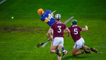 Séamus Callanan of Tipperary shoots to score his side's first goal during the All-Ireland Senior Hurling Championship quarter-final match against Galway at LIT Gaelic Grounds in Limerick. Photo by David Fitzgerald/Sportsfile