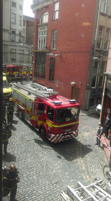 The Fire Brigade outside the GLEN offices. Photo: GLEN/Twitter