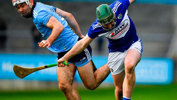 Willie Dunphy of Laois in action against Paddy Smyth of Dublin during the Allianz Hurling League Division 1 Group B Round 2 match  at Parnell Park in Dublin. Photo: Brendan Moran/Sportsfile