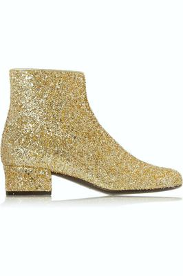 Saint Laurent gold glitter-finished leather ankle boots, €745, net-a-porter.com