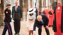 Controversy: Donald Trump, his wife Melania and Prince Andrew during a tour of Westminster Abbey in London back in June. Photo: Stefan Rousseau/PA Wire