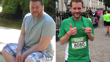 John pictured before and after his massive seven stone weight loss