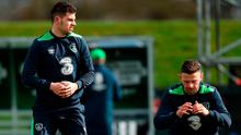 Uncapped John Egan, left, and Andy Boyle could be called upon for Ireland's World Cup qualifier against Wales. Photo: David Maher/Sportsfile