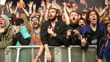 The crowd watch Metallica perform at the Glastonbury Festival, at Worthy Farm in Somerset. PRESS ASSOCIATION Photo. Picture date: Saturday June 28, 2014. See PA story SHOWBIZ Glastonbury. Photo credit should read: Matt Crossick/PA Wire