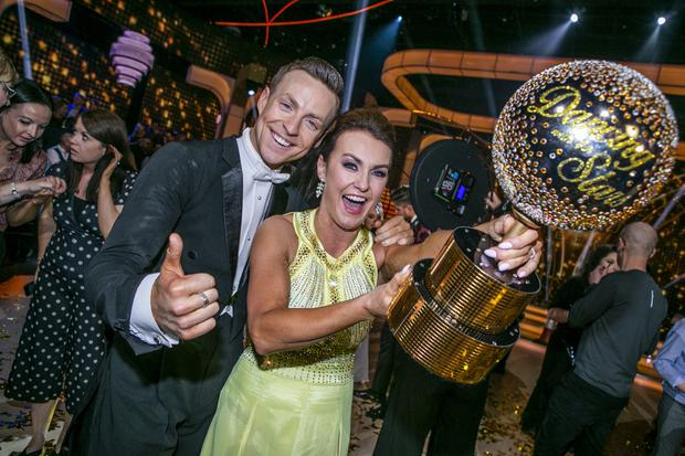 She's a star: Mairéad and professional partner John Nolan with their trophy. Photo: Kyran O'Brien