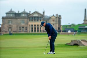 Rory McIlroy putts for par at the 17th hole yesterday's at the Alfred Dunhill Links Championship at St Andrews. Photo: Kenny Smith/PA Wire