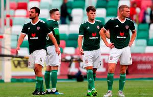 Derry City players react following the UEFA Europa League 1st Qualifying Round Second Leg match between Dinamo Minsk and Derry City at Traktor Stadium in Minsk, Belarus. Photo by Sportsfile