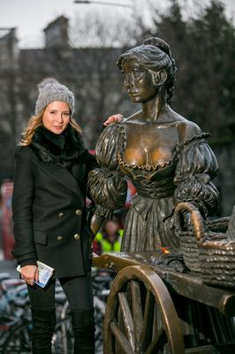 MILLIE MEETS MOLLY! MADE IN CHELSEA STAR MILLIE MACKINTOSH CELEBRATES NEW YEARS IN DUBLIN No Repro Fee 01/01/2014 PIC SHOWS:Millie Mackintosh, star of the hit TV series Made in Chelsea at the Molly Malone statue in Dublin. Millie was invited to Dublin by Tourism Ireland, to check out what make Dublin such a great choice for a city break.Pic:Naoise Culhane - no fee Millie Mackintosh, former star of the hit TV series Made in Chelsea, is in Dublin to celebrate the New Year. Invited here by Tourism Ireland in London, Millie has been checking out some of the citys great shopping, venues, visitor attractions and restaurants  which make Dublin such a great choice for a city break. Over two days, Millie is enjoying some of the great shopping on South William Street and Drury Street, trying out popular restaurants like Crackbird and Fade Street Social and venues like The Liquor Rooms, indulging in a spot of pampering at Brown Sugar and taking in tourist attractions like the Guinness Storehouse. She also joined in the New Years celebrations at The Countdown Concert in the city centre. FURTHER INFO: Sinéad Grace, Tourism Ireland (087) 685 9027   Pic: Naoise Culhane - no fee