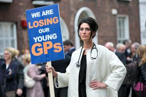 Dr Cathy Brogan from Rathkeale Co. Limerick at a recent protest held by GPs at Government buildings about the crisis facing the profession here