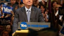 First Minister of Scotland Alex Salmond speaking at a YES rally at Perth Concert Hall, ahead of voting in the Scottish Referendum. Photo Andrew Milligan/PA Wire