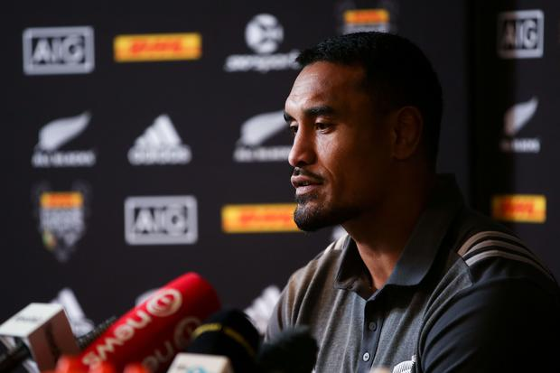 Jerome Kaino speaks to media during a New Zealand All Blacks press conference on June 27, 2017 in Wellington, New Zealand. (Photo by Hagen Hopkins/Getty Images)