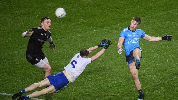 Seán Bugler kicked 0-3 off the bench for Dublin in the 1-15 to 1-15 draw with Monaghan. Photo by Stephen McCarthy/Sportsfile