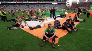Offaly supporters protested on the pitch after referee Jimmy Cooney blew the final whistle early during the All-Ireland semi-final between Clare and Offaly at Croke Park. Photo by Ray McManus/Sportsfile