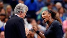 Serena Williams, right, talks with referee Brian Earley during the women's final of the U.S. Open tennis tournament against Naomi Osaka, of Japan, Saturday, Sept. 8, 2018, in New York.