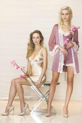 Daniella Moyles wears a Stella McCartney Lingerie Clara Whispering Chemise (€215) and Teo wears a Myla Isabella Robe (€420) with Myla Isabella Camisole (€165) and Myla Isabella French Knickers (€110) from the Lingerie Rooms at Brown Thomas. Picture: Photocall